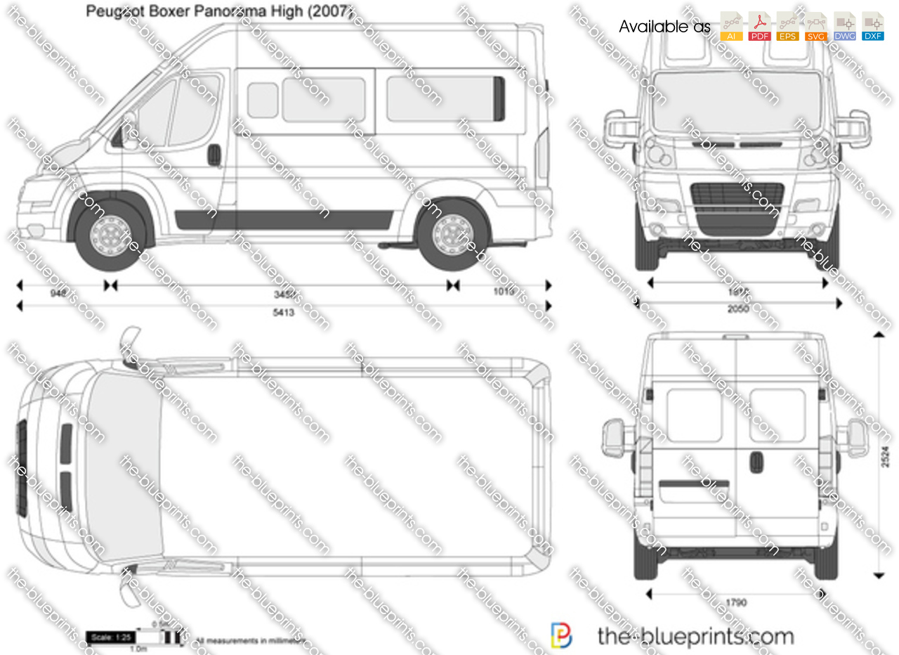 peugeot boxer panorama high vector drawing