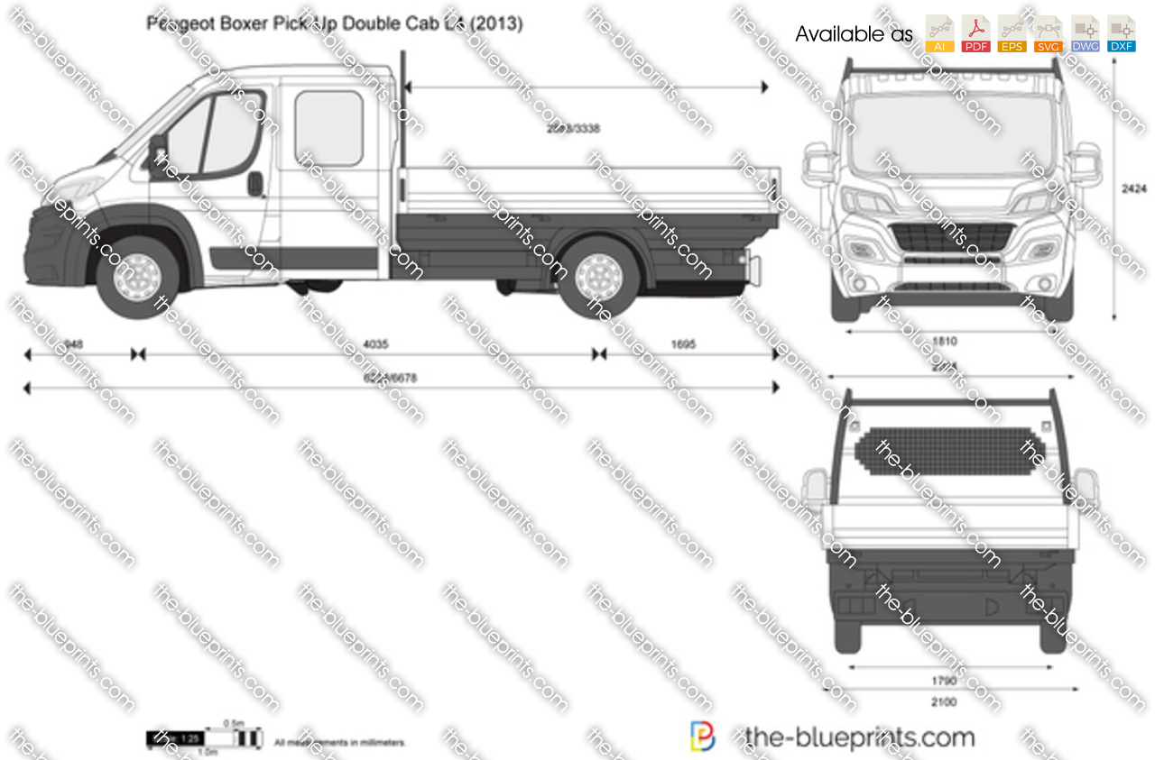 Peugeot boxer pick up double cab l4 vector drawing for Peugeot boxer dimensions interieures