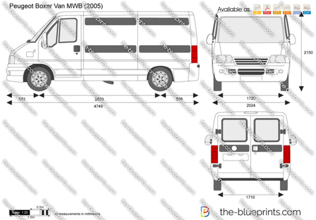 peugeot boxer van mwb vector drawing