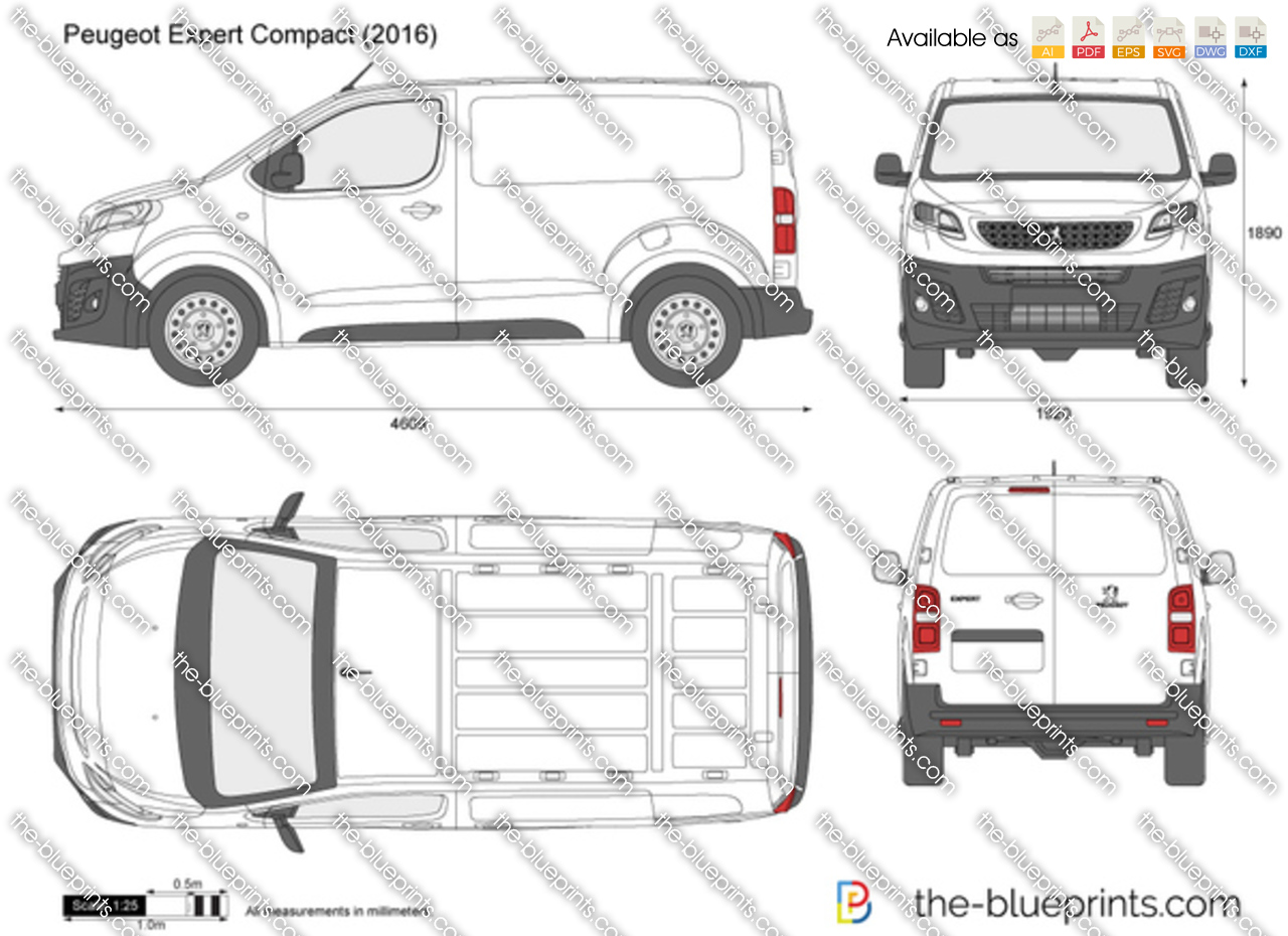 peugeot expert compact vector drawing