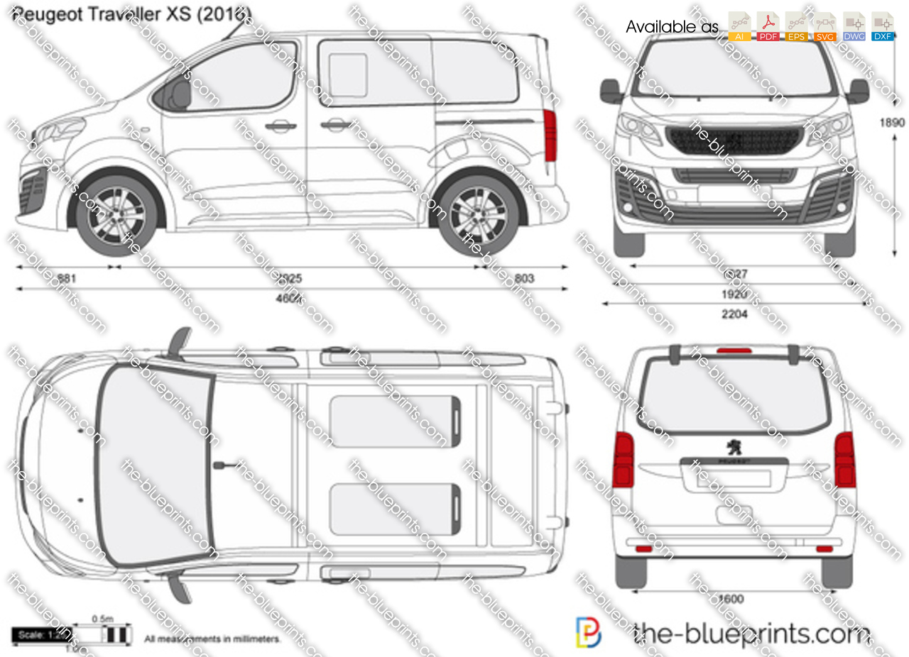 peugeot traveller xs vector drawing