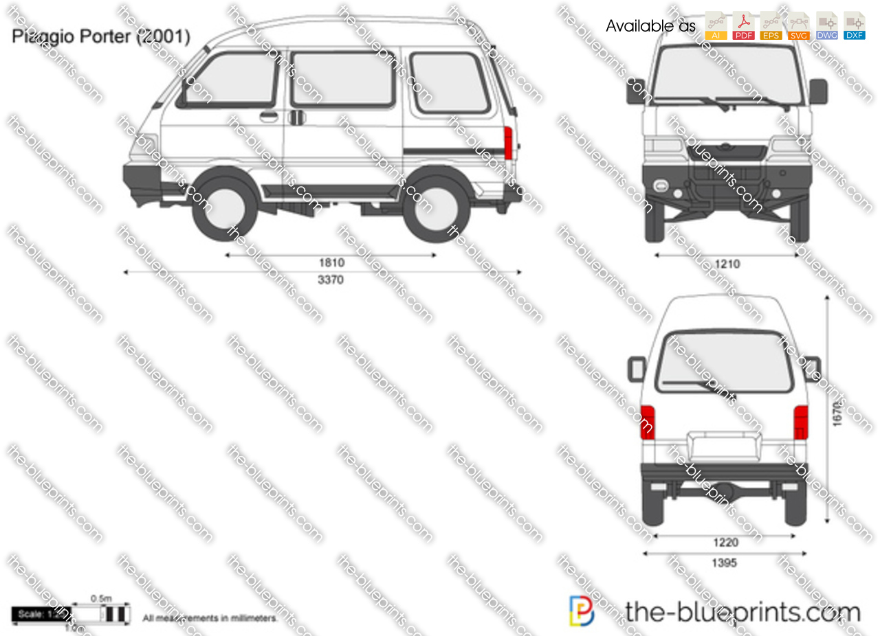 piaggio porter vector drawing