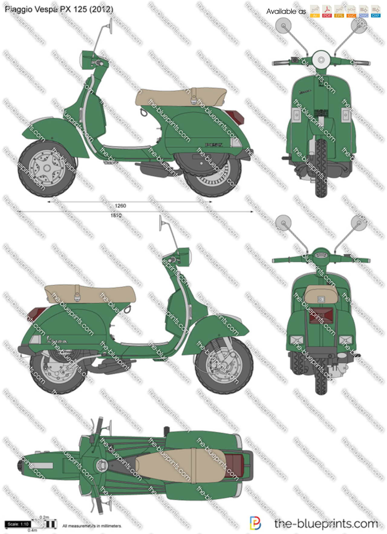 piaggio vespa px 125 vector drawing. Black Bedroom Furniture Sets. Home Design Ideas