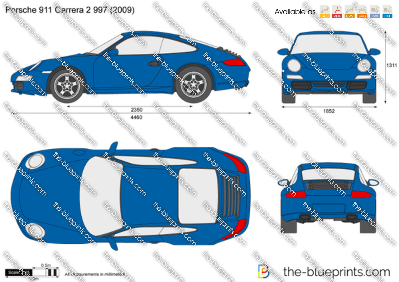 Porsche 911 Carrera 2 997 Vector Drawing
