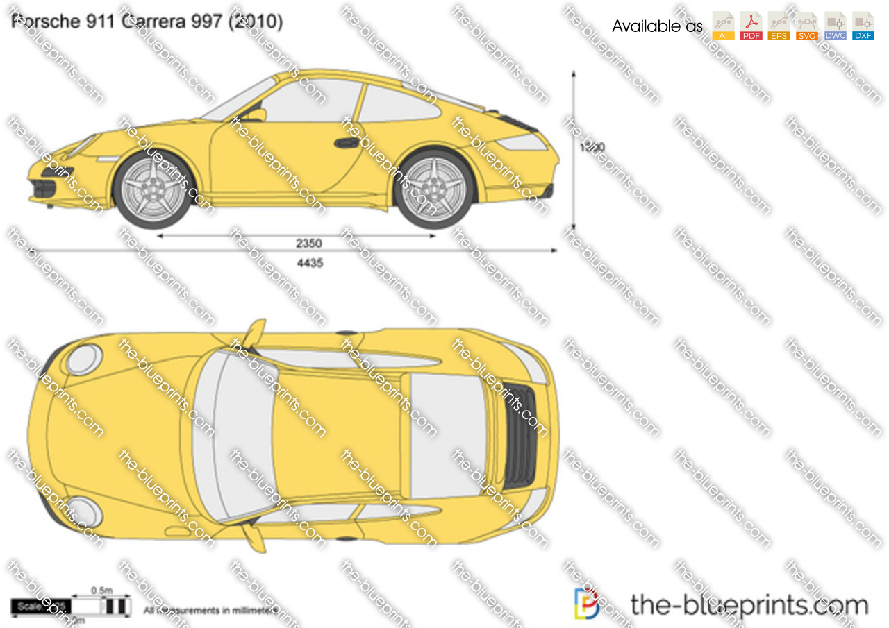 Porsche 911 Carrera 997 Vector Drawing