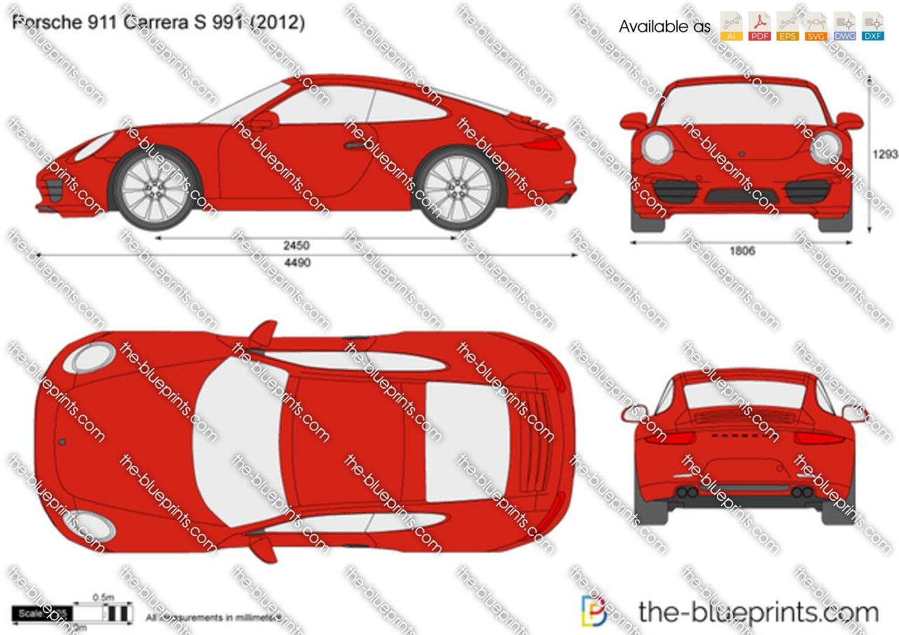 porsche 911 carrera s 991 vector drawing. Black Bedroom Furniture Sets. Home Design Ideas