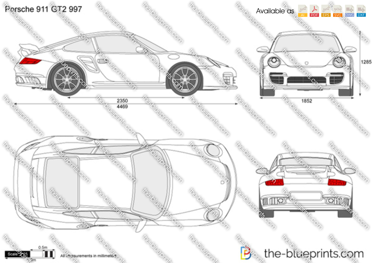 porsche 911 gt2 997 vector drawing