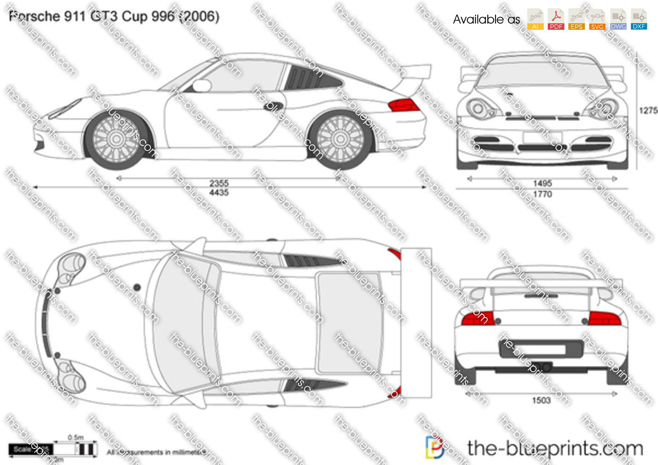 The Blueprints Com Vector Drawing Porsche 911 Gt3 Cup 996