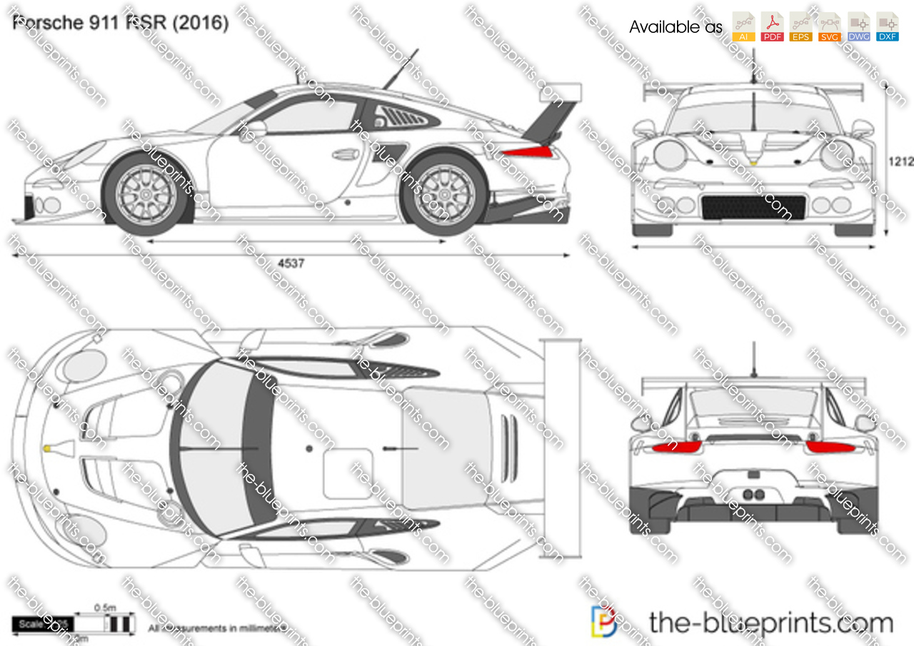 porsche 911 rsr vector drawing