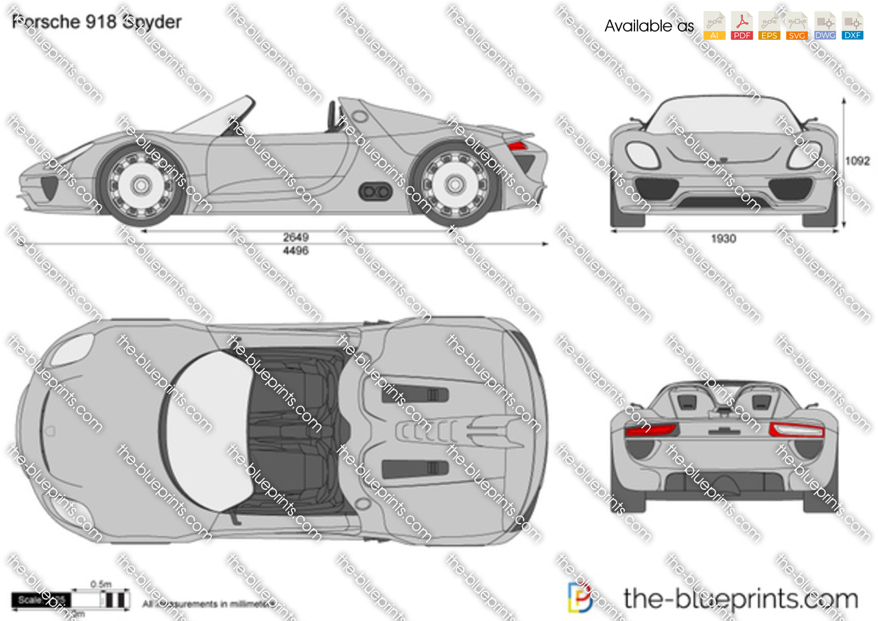 the vector drawing porsche 918 spyder concept. Black Bedroom Furniture Sets. Home Design Ideas
