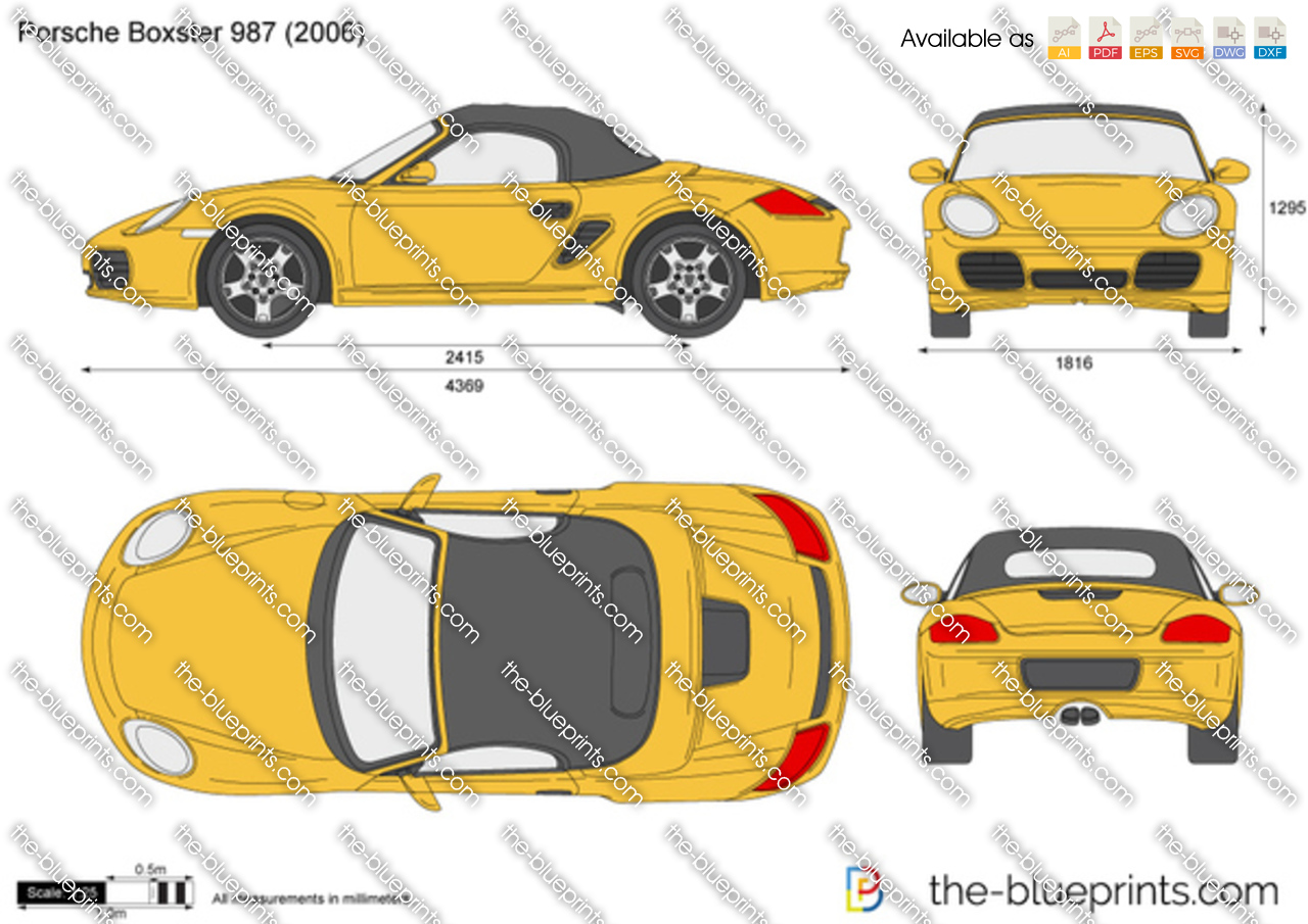Porsche Boxster 987 Vector Drawing
