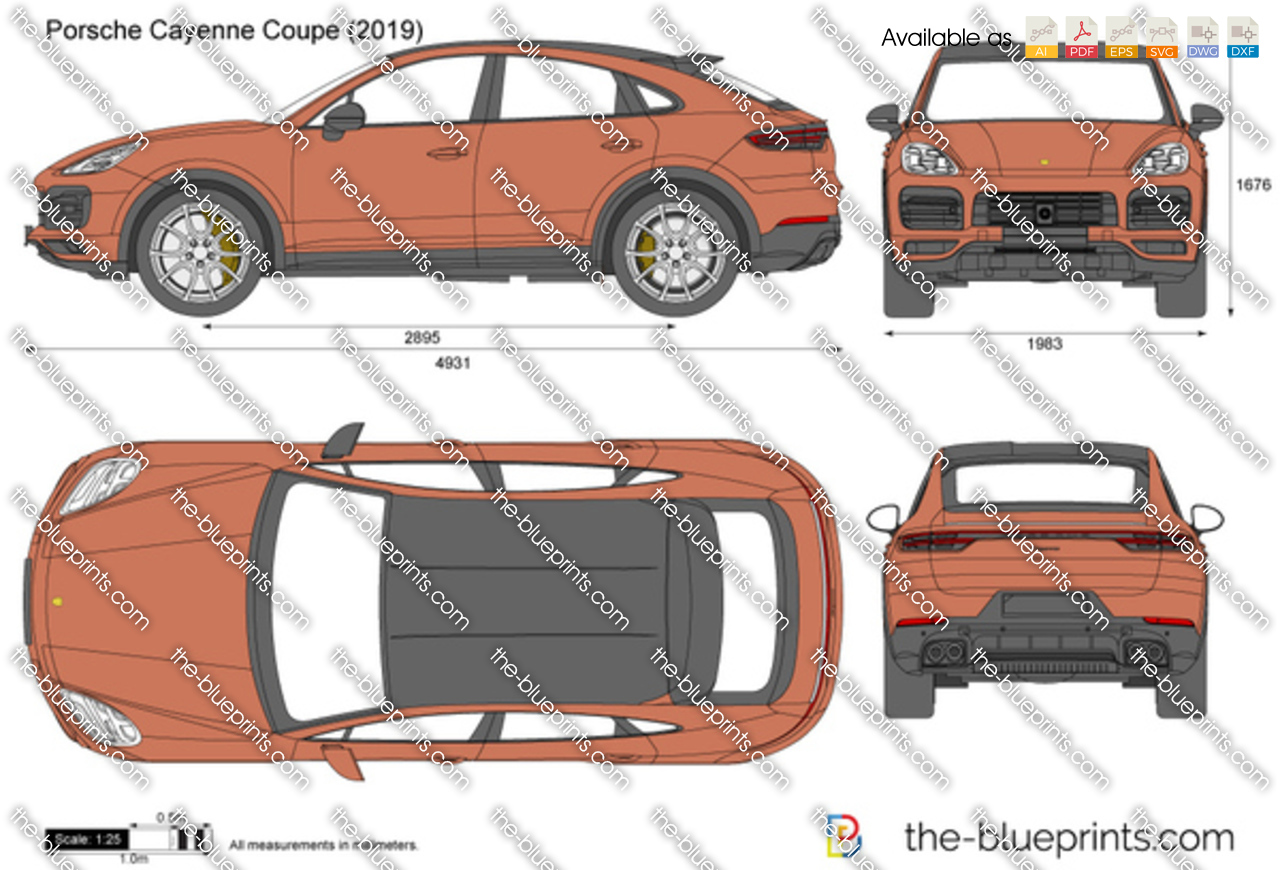 Porsche Cayenne Coupe Vector Drawing