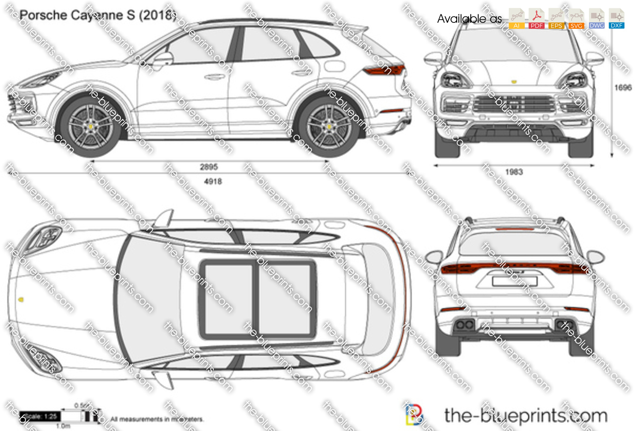 Porsche Cayenne S Vector Drawing