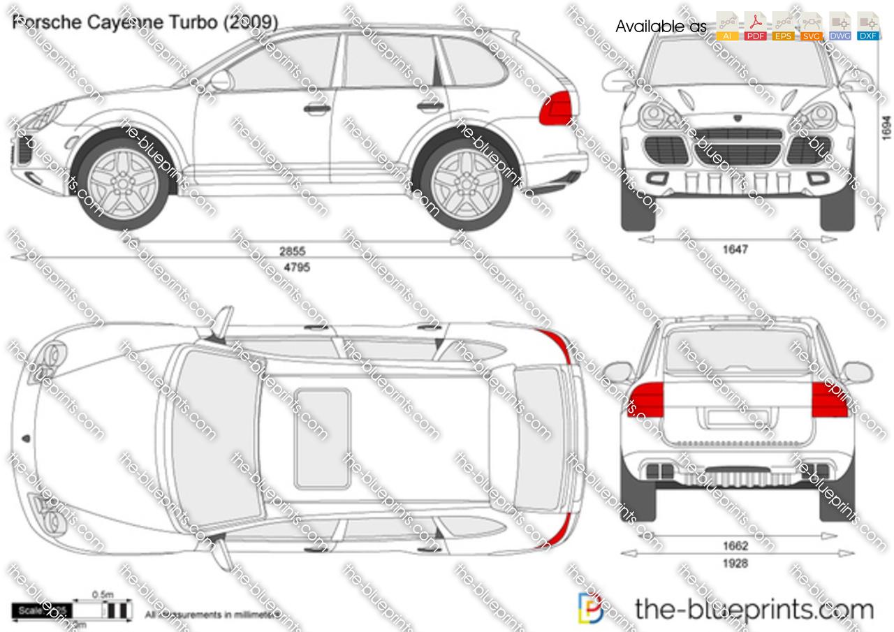 The-Blueprints.com - Vector Drawing - Porsche Cayenne Turbo