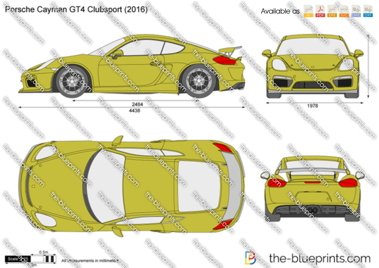 Porsche Cayman Gt4 Clubsport Vector Drawing