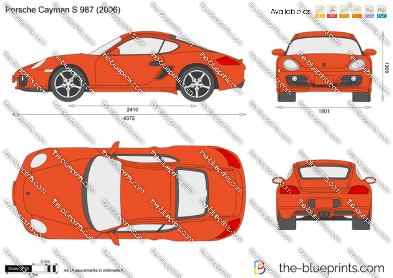 Porsche Cayman S 987 Vector Drawing