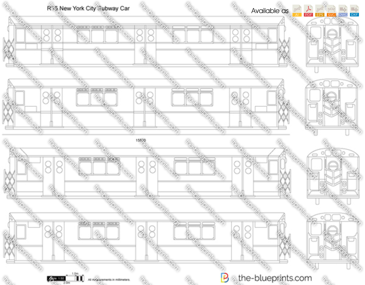 The blueprints vector drawing r15 new york city subway car r15 new york city subway car malvernweather Image collections