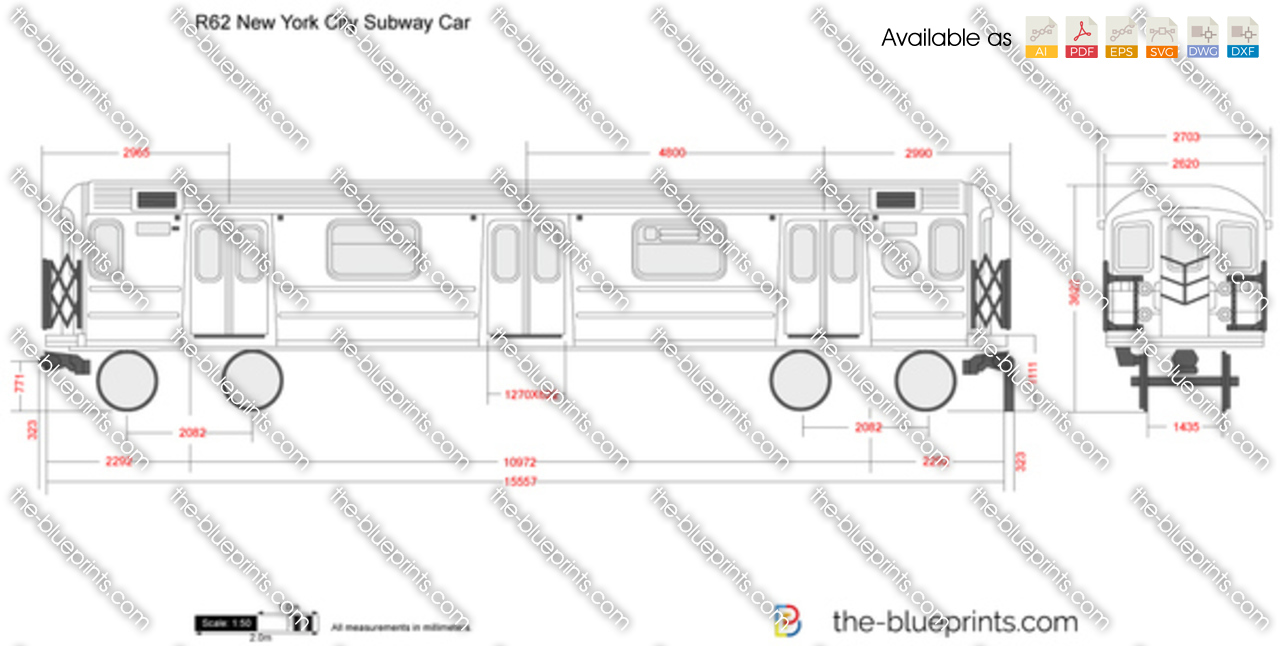 The blueprints vector drawing r62 new york city subway car r62 new york city subway car malvernweather Image collections
