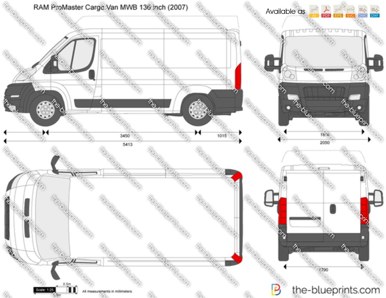 RAM ProMaster Cargo Van MWB 136 inch vector drawing