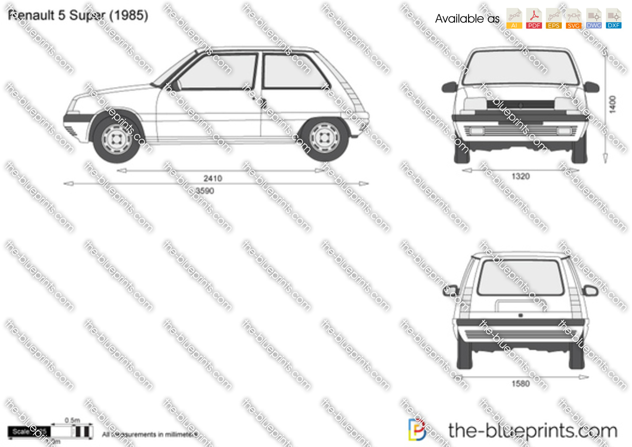 renault 5 super vector drawing