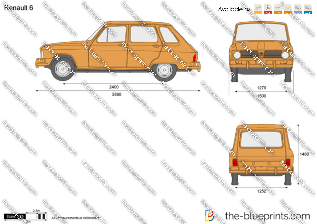 Renault 6 vector drawing