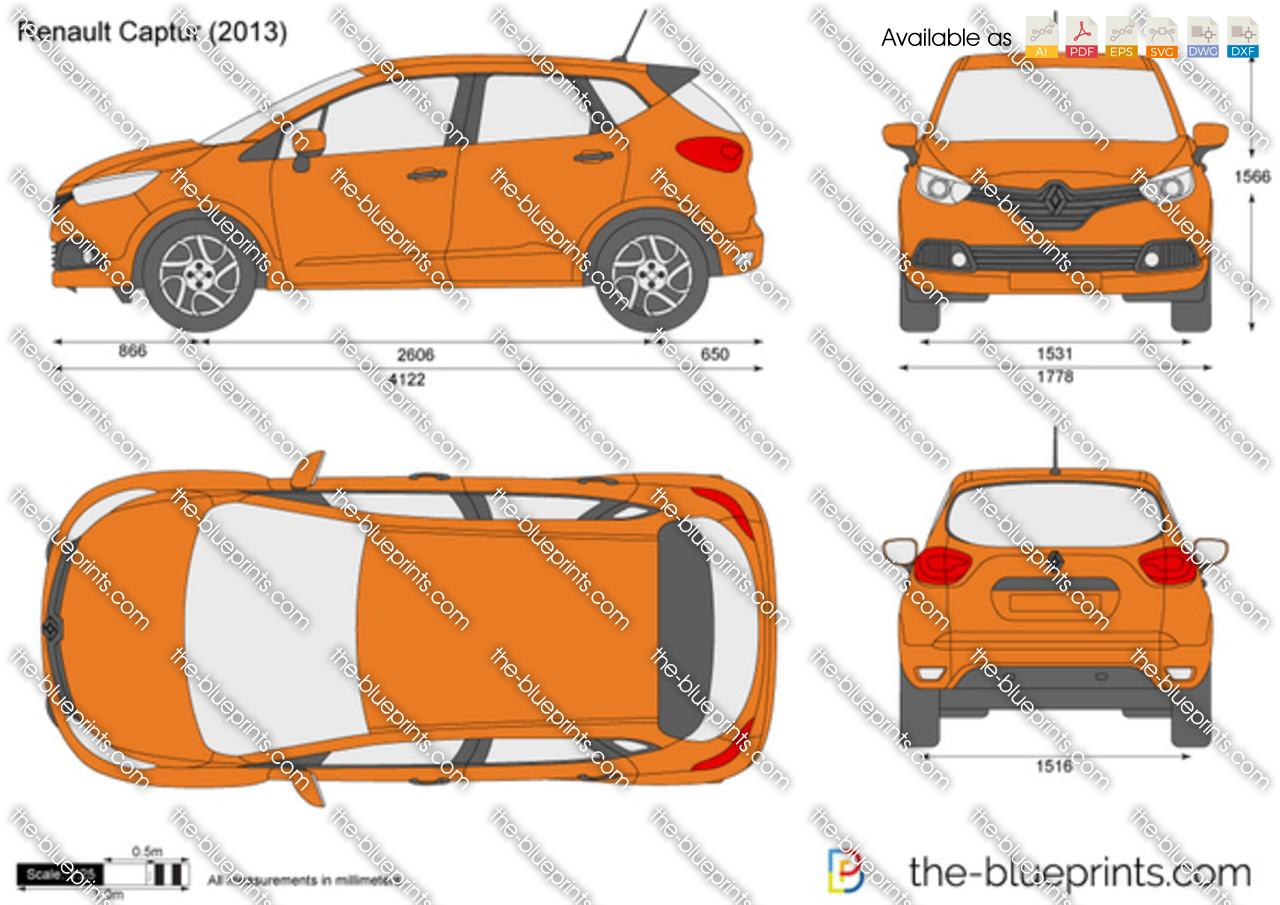 Drawing To Scale Online Renault Captur Vector Drawing