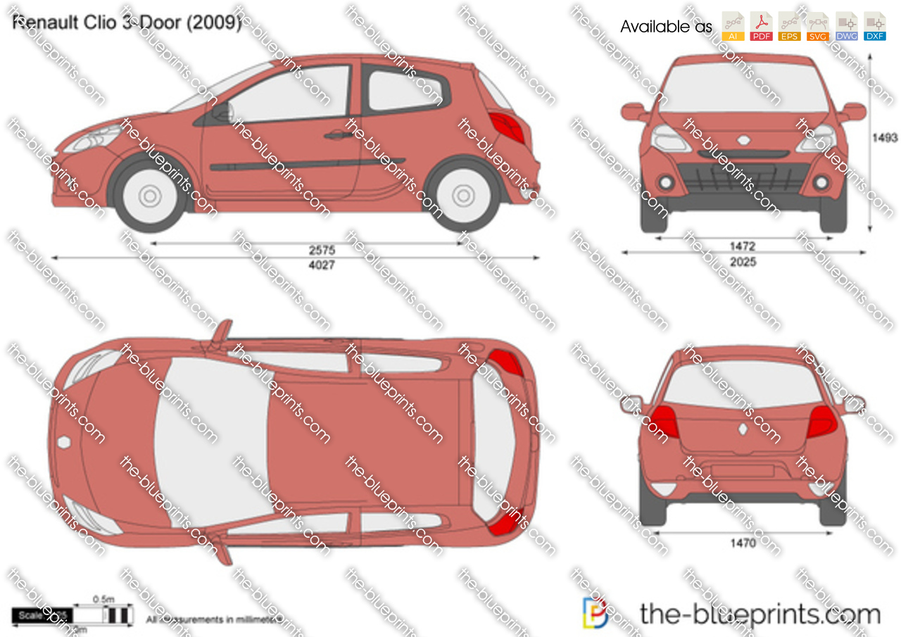 the vector drawing renault clio 3 door. Black Bedroom Furniture Sets. Home Design Ideas