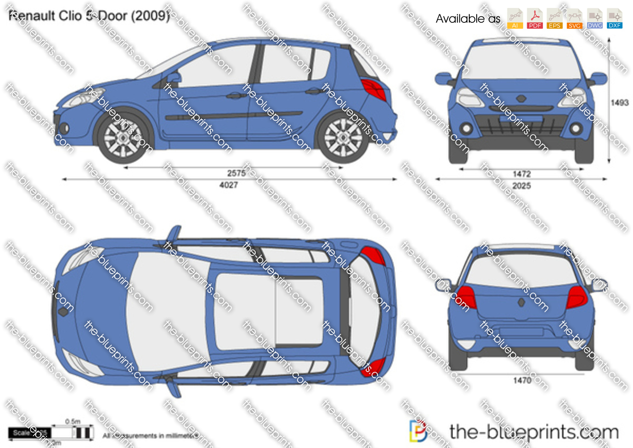 the vector drawing renault clio 5 door. Black Bedroom Furniture Sets. Home Design Ideas