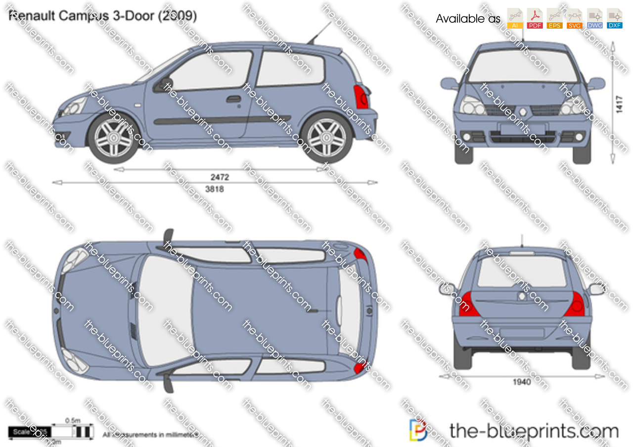 the vector drawing renault clio campus 3 door. Black Bedroom Furniture Sets. Home Design Ideas