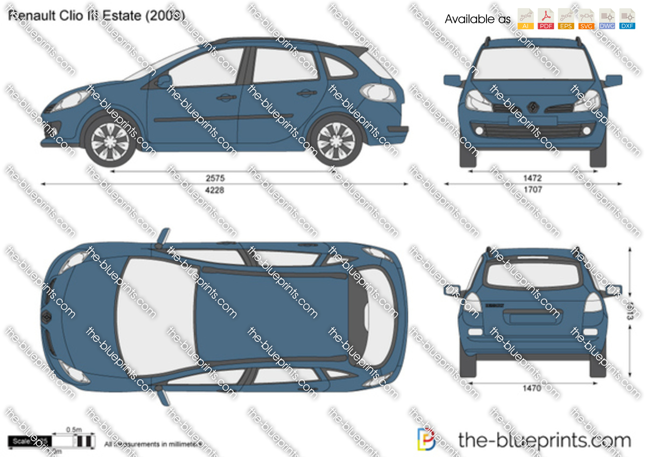 Renault Clio Iii Estate Vector Drawing