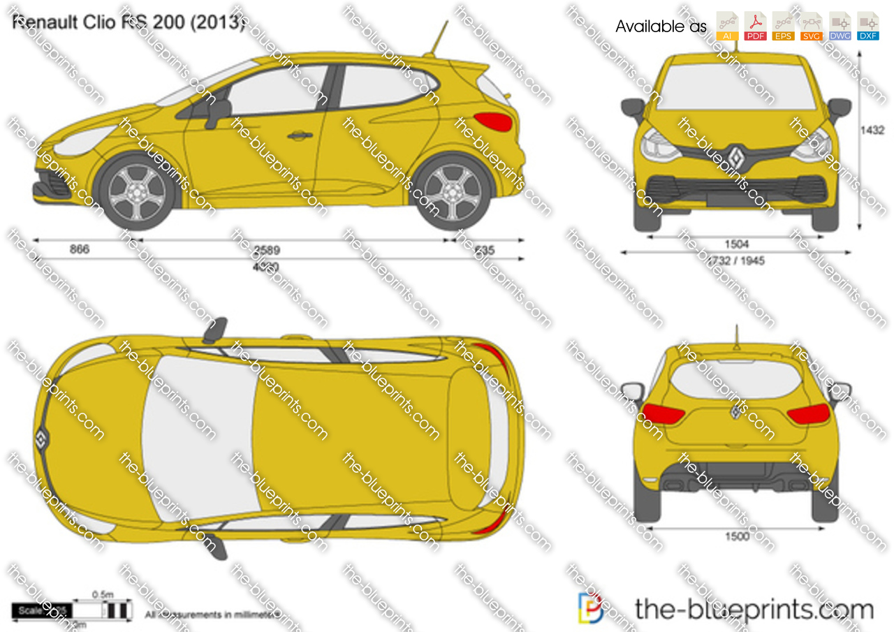 the vector drawing renault clio rs 200
