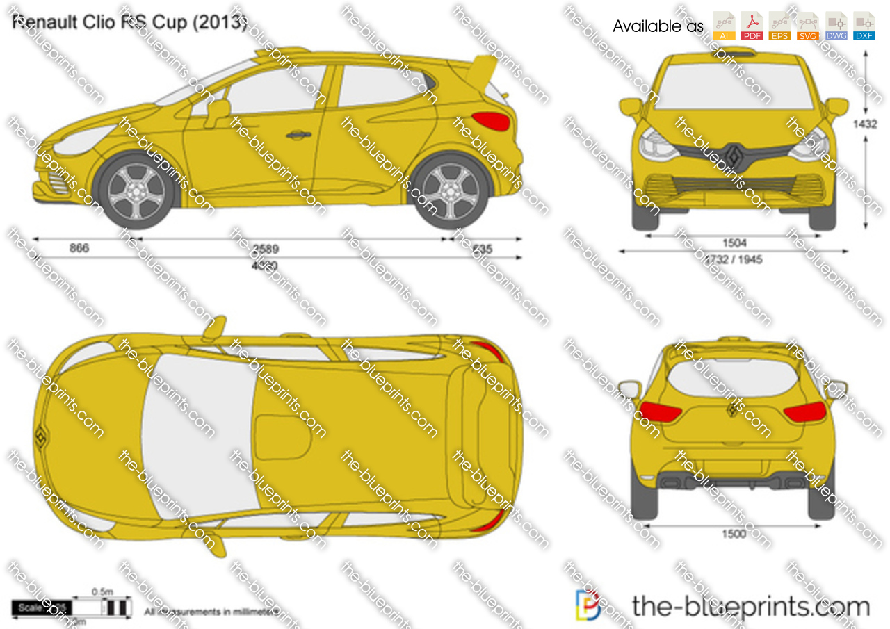 the vector drawing renault clio rs cup. Black Bedroom Furniture Sets. Home Design Ideas