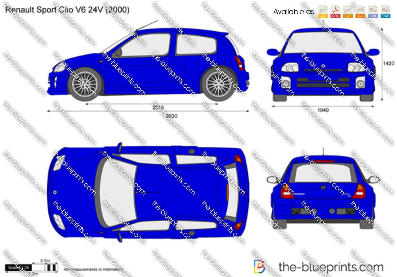 renault clio sport v6 vector drawing. Black Bedroom Furniture Sets. Home Design Ideas