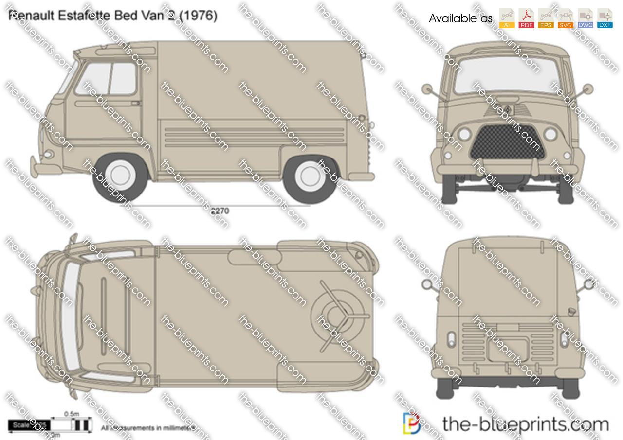 Renault Estafette Bed Van 2 Pick Up Vector Drawing