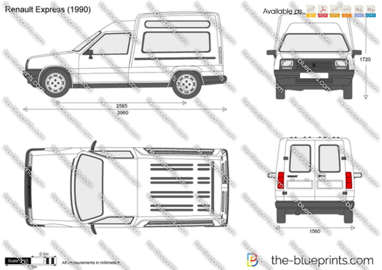 the blueprints vector drawing renault express