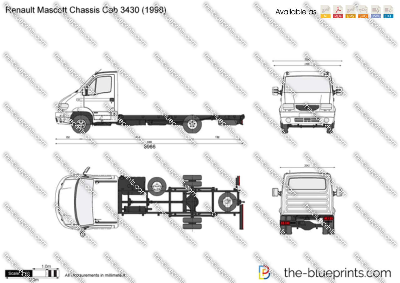 renault mascott chassis cab 3430 vector drawing