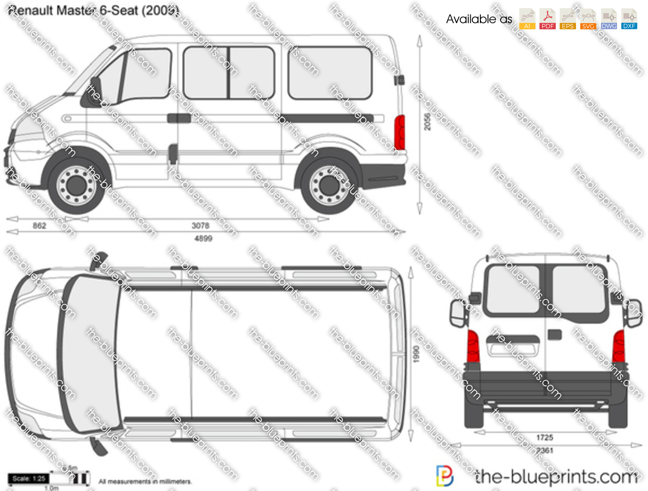 the vector drawing renault master 6 seat. Black Bedroom Furniture Sets. Home Design Ideas
