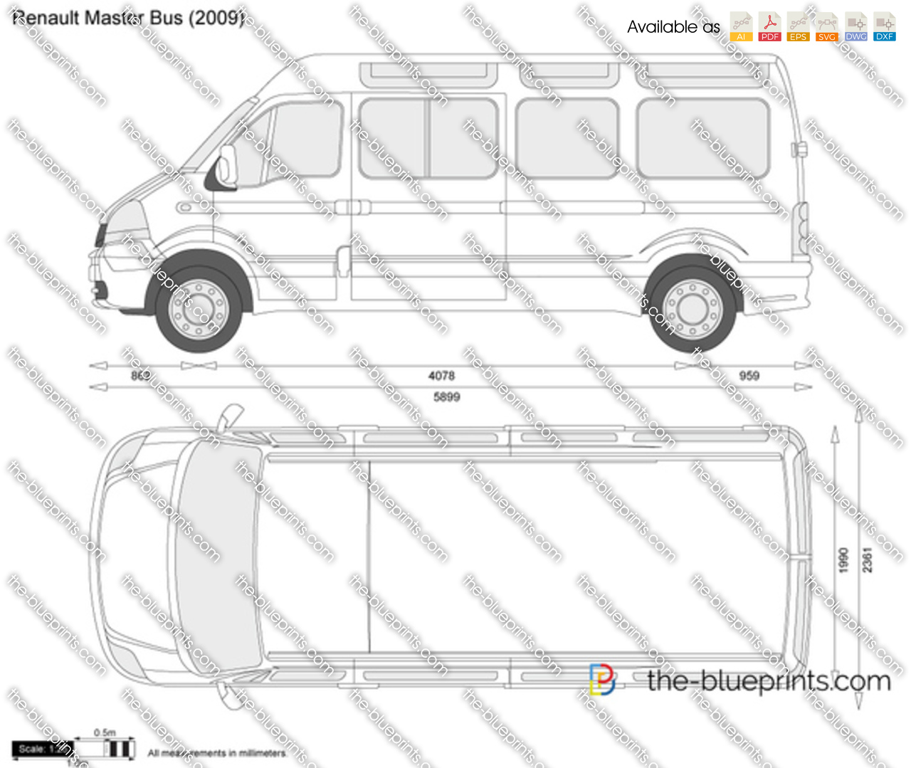 the vector drawing renault master bus. Black Bedroom Furniture Sets. Home Design Ideas