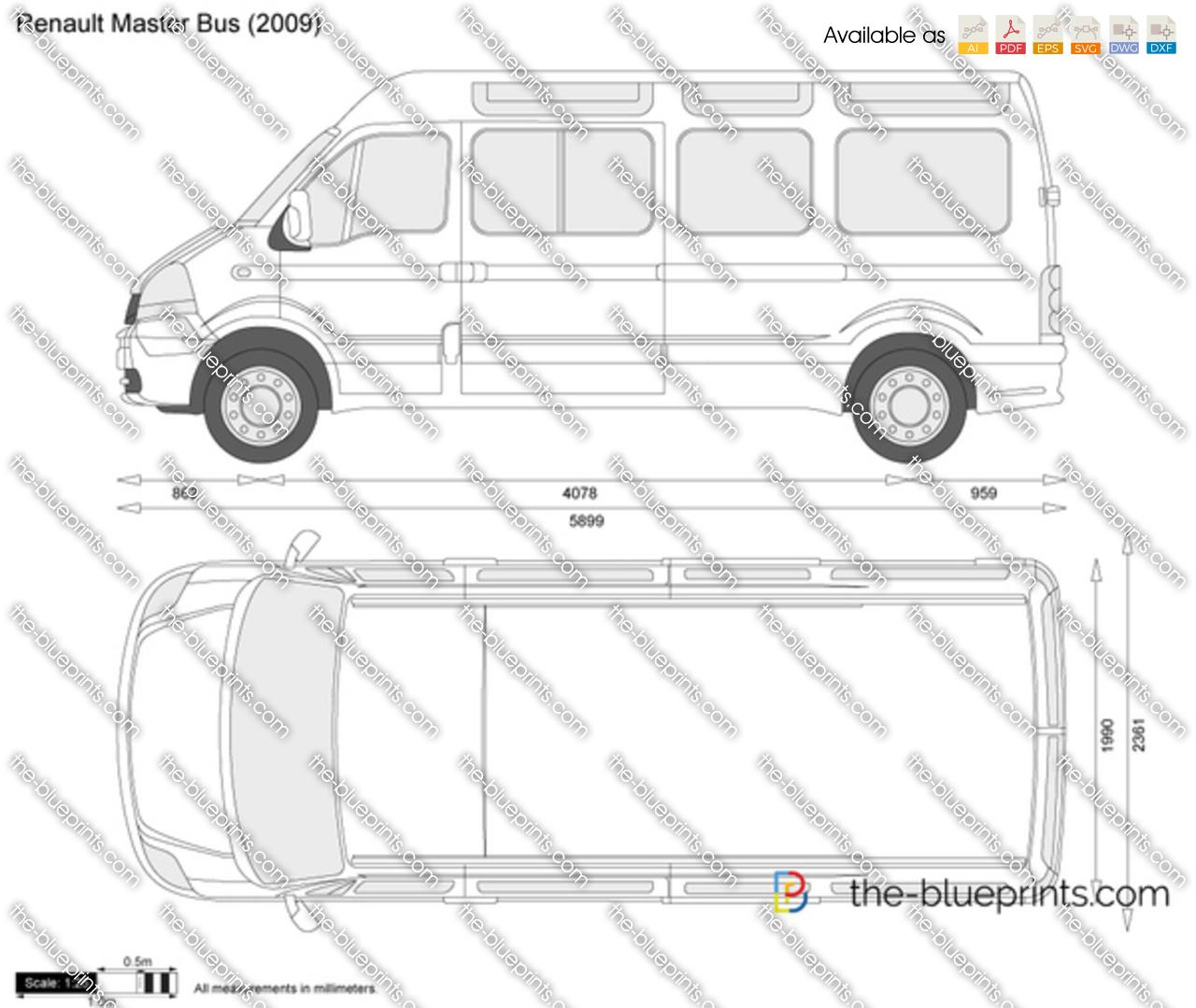 renault master bus vector drawing. Black Bedroom Furniture Sets. Home Design Ideas