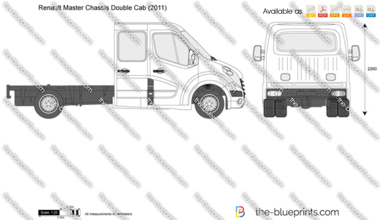 Renault Master Chassis Double Cab Vector Drawing