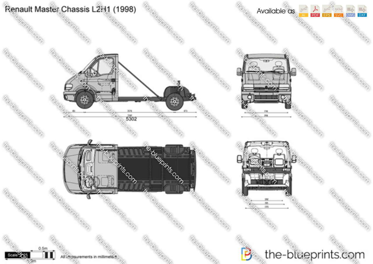 renault master chassis l2h1 vector drawing