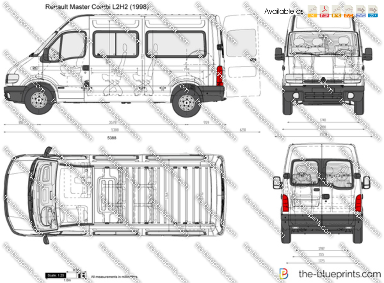 renault master combi l2h2 vector drawing. Black Bedroom Furniture Sets. Home Design Ideas