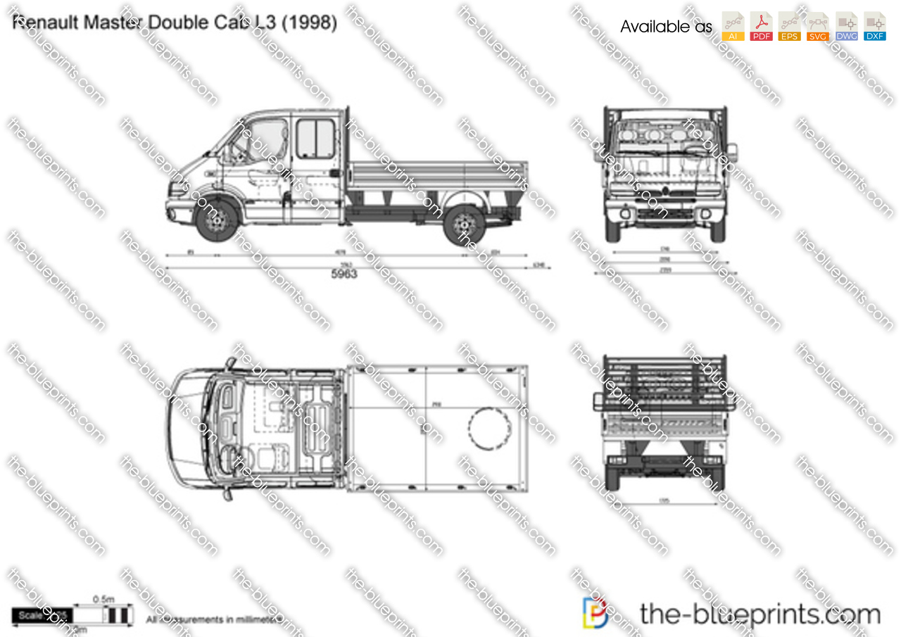 renault master double cab l3 vector drawing. Black Bedroom Furniture Sets. Home Design Ideas