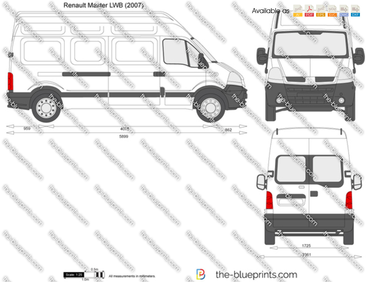 the vector drawing renault master lwb. Black Bedroom Furniture Sets. Home Design Ideas