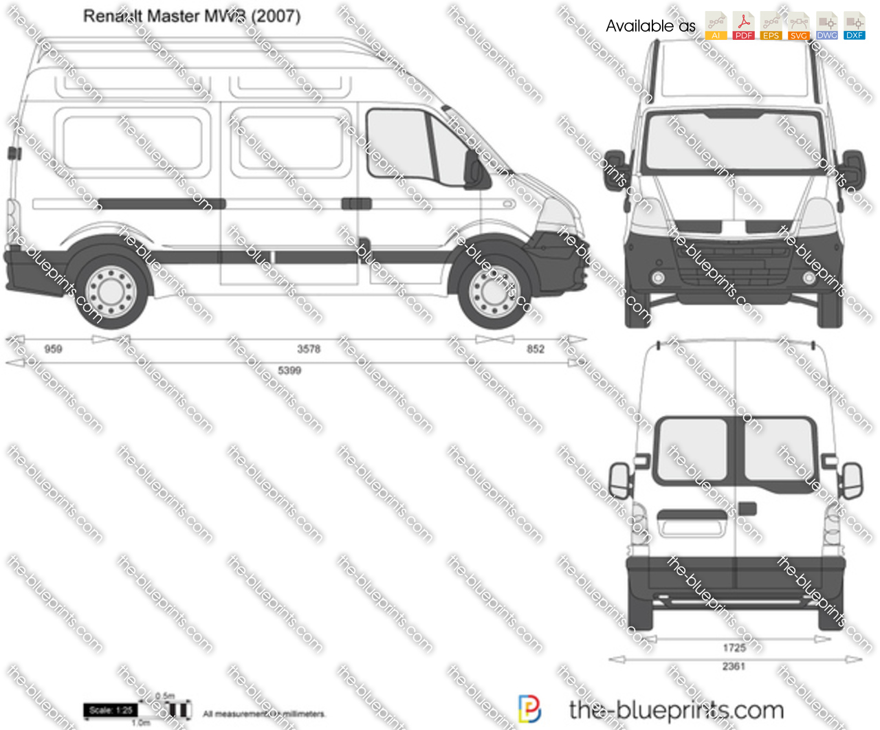 the vector drawing renault master mwb. Black Bedroom Furniture Sets. Home Design Ideas