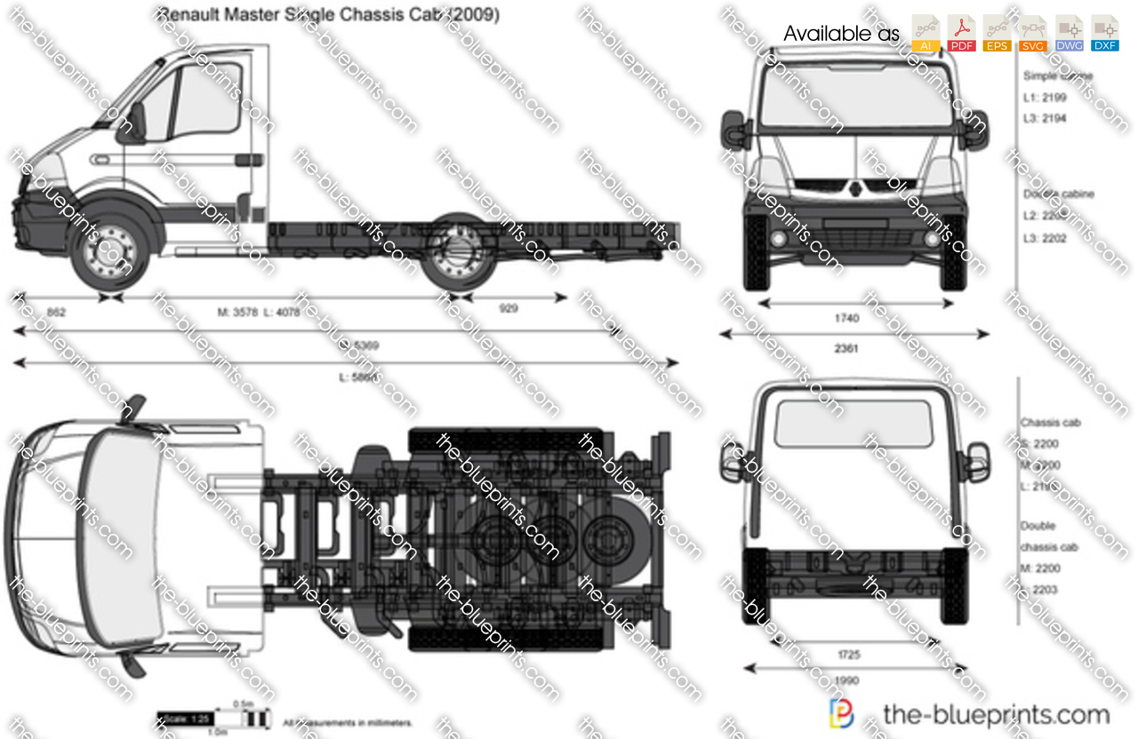 Renault Master Single Chassis Cab Vector Drawing