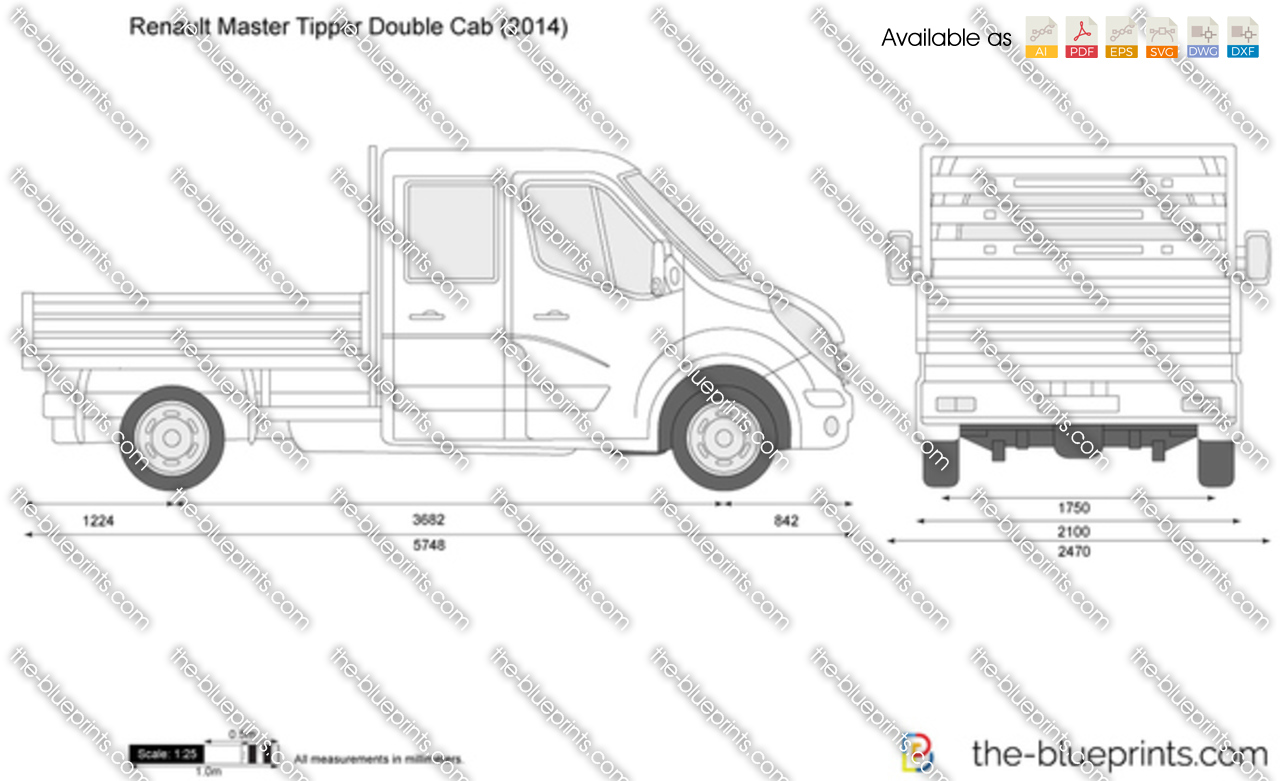the vector drawing renault master tipper double cab. Black Bedroom Furniture Sets. Home Design Ideas