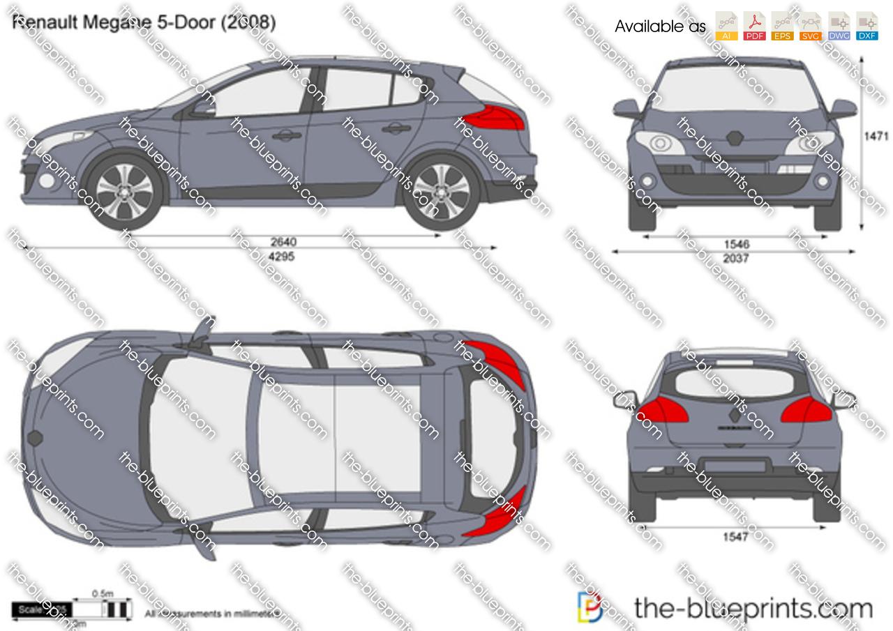 the blueprints vector drawing renault megane 5 door