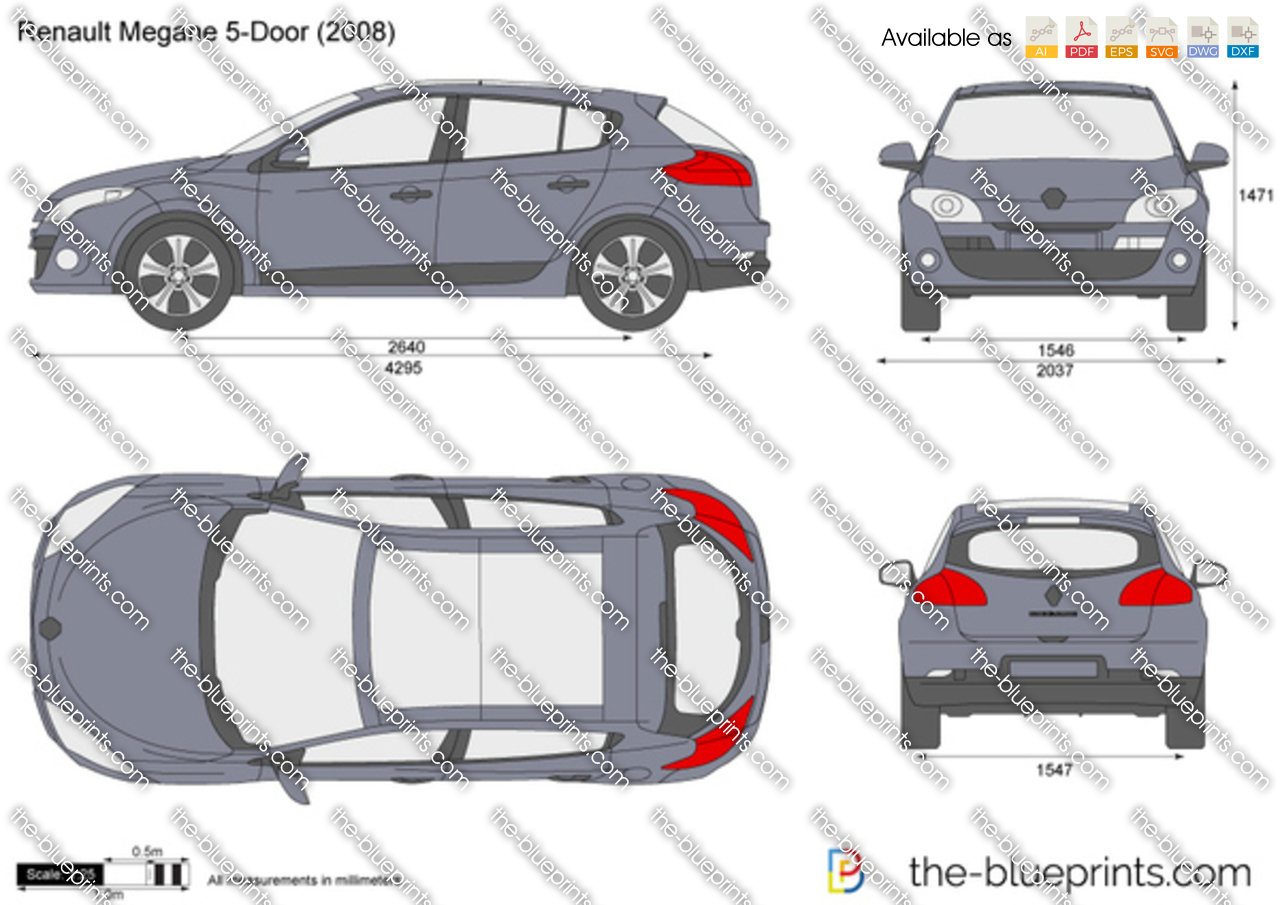 the vector drawing renault megane 5 door. Black Bedroom Furniture Sets. Home Design Ideas