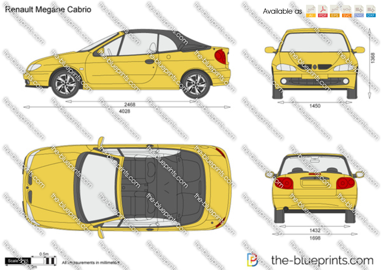 the vector drawing renault megane cabrio. Black Bedroom Furniture Sets. Home Design Ideas